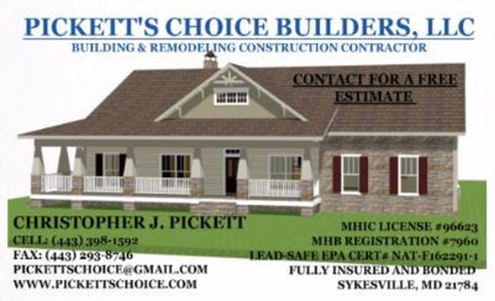 Residential Construction General Contractor - Pickett's Choice Builders, LLC